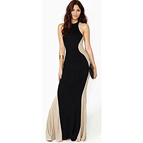 Robe Longue Moulante de Soirée Bicolore - Noir/Beige
