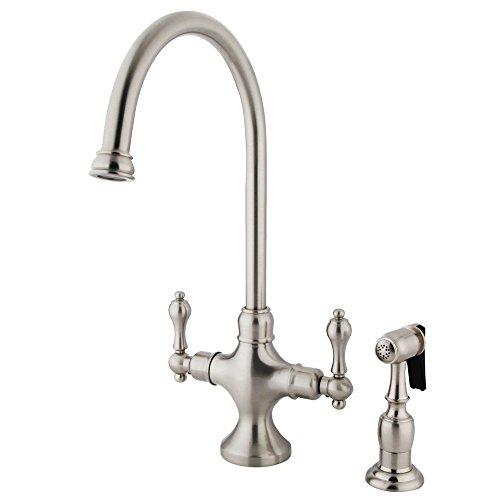"Nuvo Elements of Design ES1768ALBS Vintage 2-Handle Kitchen Faucet with Brass Sprayer, 7-7/8"", Satin Nickel"