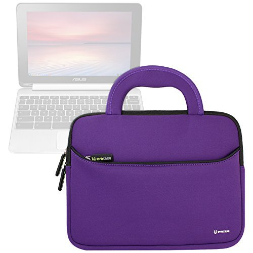 Evecase ASUS Chromebook Flip C100PA 10.1 Inch Touch Chromebook Sleeve Case, Neoprene Slim Briefcase w/ Handle & Accessory Pocket / Ultra Portable Carrying Case Portfolio Pouch Cover - Purple