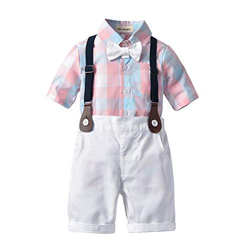Tem Doger Baby Boys Casual Suit Cotton Long Sleeve Striped Button Down Bowtie Shirt+Long Pants Clothes Set Outfit (Pink-4, 70(4-12M))