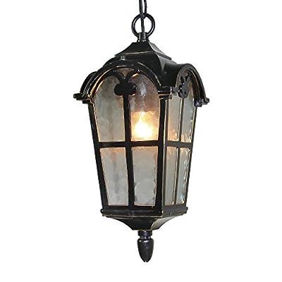LNC Industrial Outdoor Aluminum Pendant Light Exterior Hanging Lantern Lamp