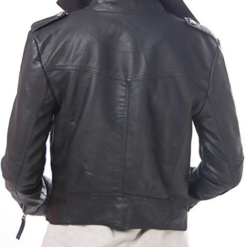 Veste Blouson Moulante Pu Longues Hiver Automne Veste Courte Cuir Noir Lapel Outwear Cuir En Zipper Biker Vestes Vintage Moto Femme Jaquette Jacket Manches rgUqrF