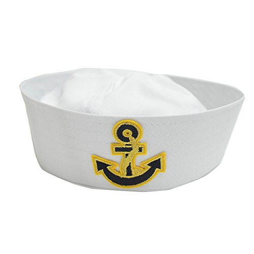 - Funkeet Toddler White Sailor Hat & Gold Anchor for Sailing Nautical Party Costume Accessory (Arrow)
