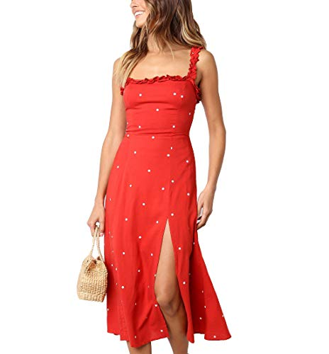 Miguofan Women's Summer Strap Sleeveless Split A Line Party Midi Dress (Large, Red-1) ()