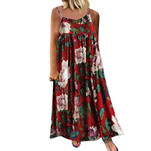 BODOAO Women Bohemian Print Dress Causal Sleeveless Camisole Dress Crewneck  Summer Dress