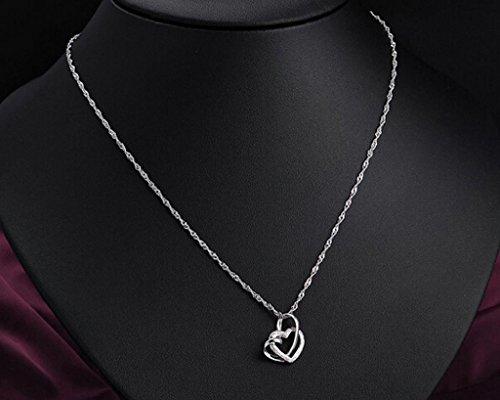 célèbre marque de designer meilleur site en stock Sasavie-Coeur Collier-Argent fin 925-Entrelace-Femme-45CM