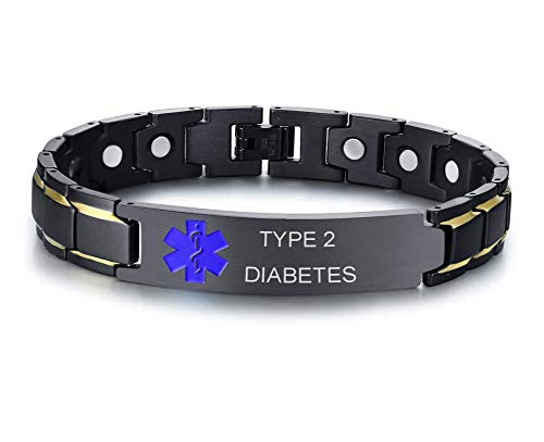 XUANPAI Type 2 Diabetes Brushed Name Plate ID Identity Magnet Therapy Medical Alert ID Bracelet(Black+Blue) ()