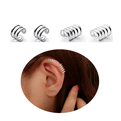 Full Circle Wrap - 925 Sterling Silver Multi Circles Cuff Earrings for Women Teen Girls Cartilage Earrings FarryDream (Five Circle/pair)