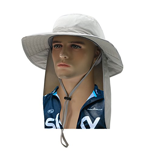 cabe4c98c35d9 AHCSMRE Fishing Cap with Neck Flap Wide Brim Outdoor Sun Protection Safari  Summer Hat for Men