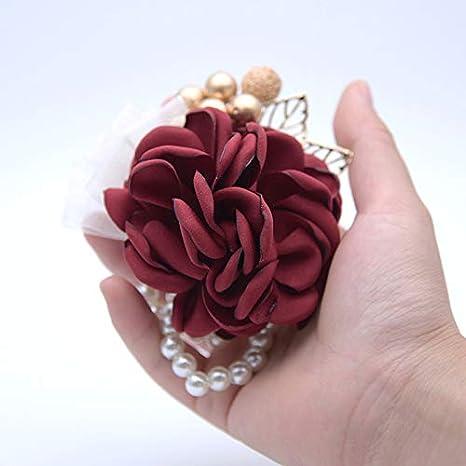 9 * 9 * 4cm Champagnerpulver Tissu Wimagic 1X Bracelet de Mariage avec Perles Faites pour d/écoration Garland Fleurs Poignet Fleur mari/ée Demoiselle dhonneur Corset avec Ribbon Party Prom
