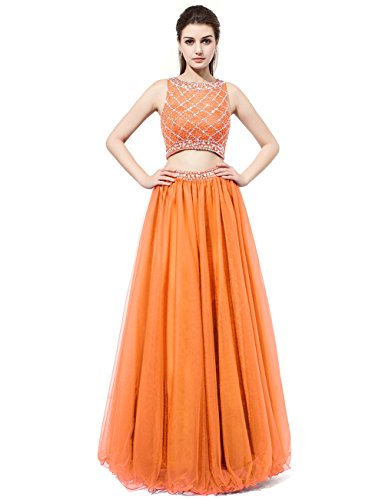DRESSTELLS Long Prom Dress 2016 Two Pieces Tulle Evening Gowns With Beads Orange Size14