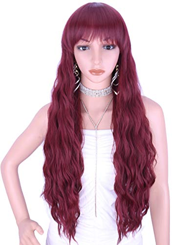 Kalyss 26 Inches Curly Wavy Synthetic burgundy red WigsHair Bangs Heat Resistant Synthetic Wigs for Women Natural Looking Women`s Costume Cosplay or Daily Wear Hairpiece