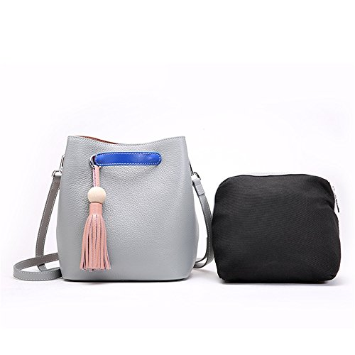 Tassel Sub Bucket Messenger Bag Gray Retro Leisure Leather Magnetic Shoulder Simple bag Bag wIOqxEzz