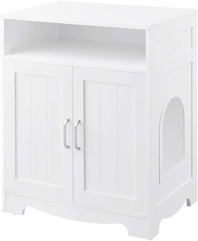 beeNbarks Cat Litter Box Enclosure, Privacy Cat Washroom with 2 Entrances, Designed for Quick Assembly Cat House Storage Nightstand, Wooden Pet Crate Furniture