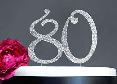 80 Cake Topper | Premium Sparkly Crystal Rhinestones | 80th Birthday or Anniversary Party Decoration Ideas | Perfect Keepsake (80 Silver)