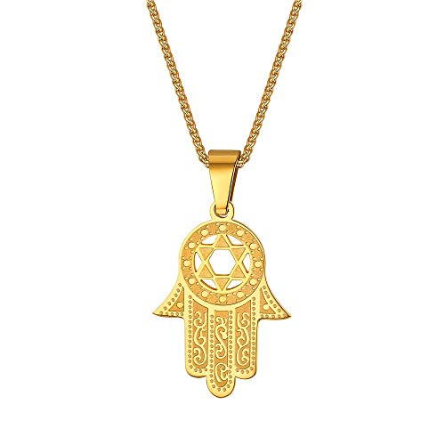 (Gold Amulet Hand of Fatima Charm Unisex Protection Jewelry Stainless Steel Star of David Hamsa Hand Pendant Necklace for Men Women)