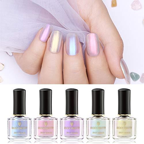 BORN PRETTY Nail Lacquer Polish Pearl Transparent Shell Glimmer Shiny Shimmer Manicure Art Varnish 5 Colors ()