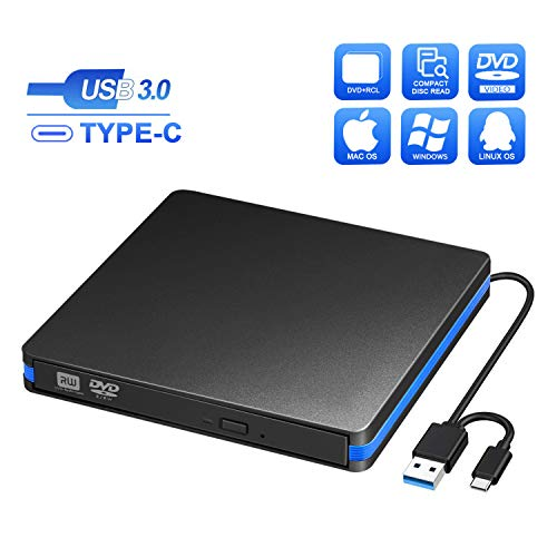 BlueFire External CD DVD Drive, Slim USB C Laptop Drive Portable External Disc Drive, High Speed Data Transfer USB 3.0 Type C Optical Drive, Compatible with Laptop MacBook iMac PC Window 10/8/7 Linux ()