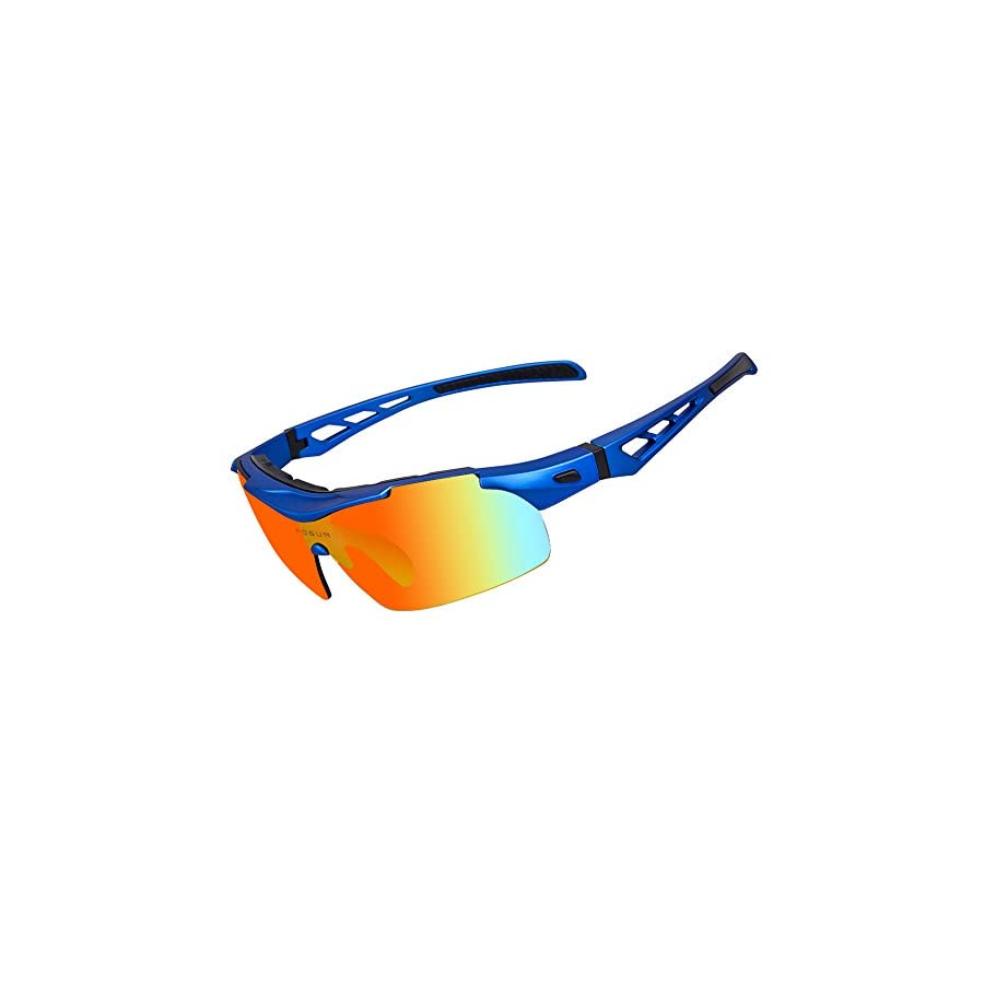Polarized Sports Sunglasses with 5 Interchangeable Lenses for Men Women Cycling Baseball Running Fishing Driving Golf Glasses Tr90 Unbreakable Frame FOSUN