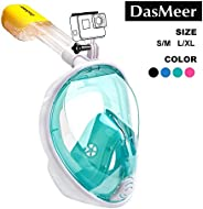DasMeer Snorkel Mask Full Face Seaview 180°GoPro Compatible Mask with Easy Breathing Easy Draining Design and