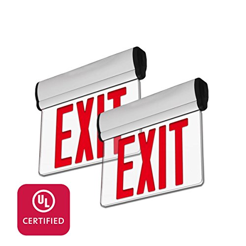 LFI Lights - 2 Pack - UL Certified - Hardwired Red LED Edge Light Exit Sign - Rotating Panel Battery Backup - ELRTRx2 - Edge Lit Led Sign