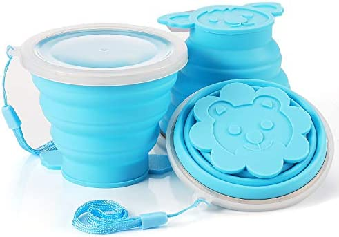 Portable 5.1oz Animals Silicone Folding Camping Cup with Lids 3 Set Expandable Drinking Cup Set ME.Fan Silicone Collapsible Travel Cup