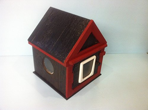 Handcrafted Outdoor Cat House (Walnut & Red)