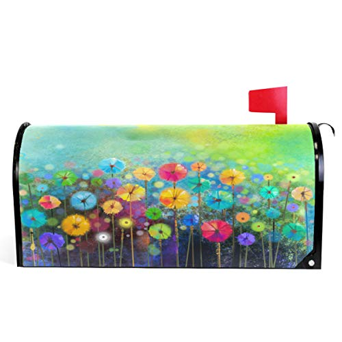(Seasonal Nature Spring Summer Autumn Winter Flowers Mailbox Covers Standard Size Abstract Floral Watercolor Rainbow Dandelion Poppy Magnetic Mail Wraps Cover Letter Post Box 21