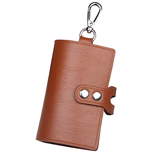 QLYNUDO key case, Tri-fold Key Purse Pouch  Small Wallet  Money Bag with 6 Hooks Credit Card Slot Car Key Holder-PU Leather