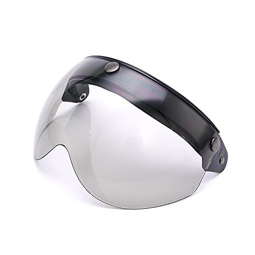 Pilot-Style Universal 3 Snap-Button Visor for Open Face Motorcycle Helmet Wind Shield Flip Up Down By MotorFansClub(Light Smoke) - Helmet Replacement Shield Cover