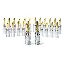 Sewell Silverback Banana Plugs, 24k Gold Dual Screw Lock Speaker Connector, 12 Pairs