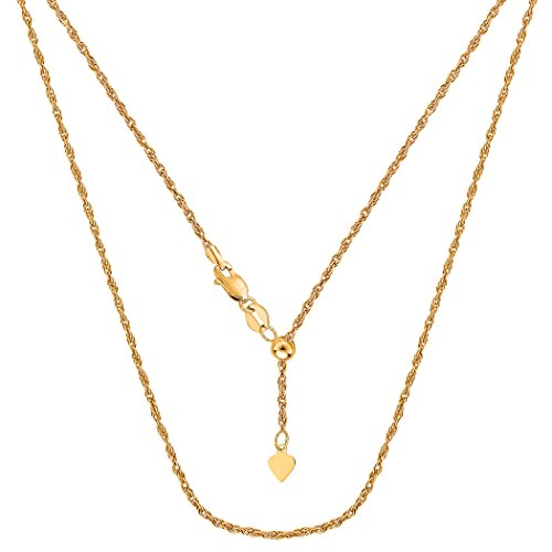 14k Yellow Gold Adjustable Rope Chain Necklace, 1.0mm, 22