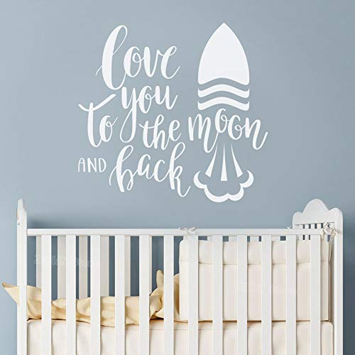 Jiesa Wall Art Decal Sticker Words Wall Saying Words Removable Mural Moon & Back Quote Love Rocket Baby Nursery Idea Decor vinilos paredes Art]()