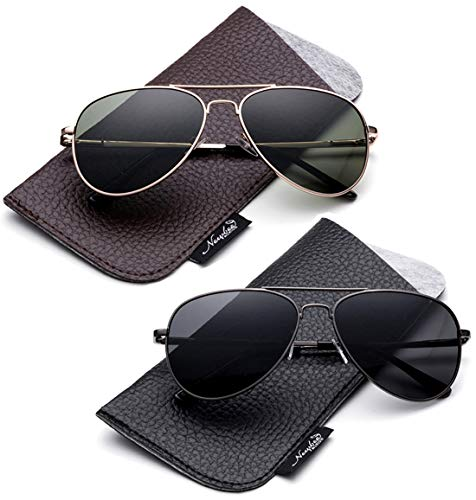 Newbee Fashion-Polarized Kids Teens Juniors Aviator Polarized Sunglasses Stainless Steel Frame Spring Hinge Kids Polarized Sunglasses for Girls & Boys UV Protection with Carrying ()
