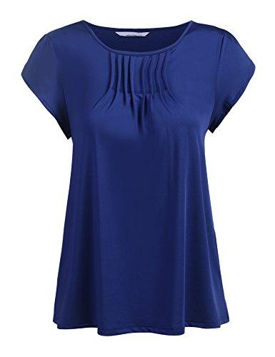 Venena Women's Simple Scoop Neck Short Sleeve Flutter Sleeve Top Plus Size,Blue,X-Large (Sleeve Tops Flutter Plus)