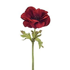 "Diva At Home Pack of 24 Red and Green Artificial Anemone Flower with Stem Decorative Picks 14"" 115"