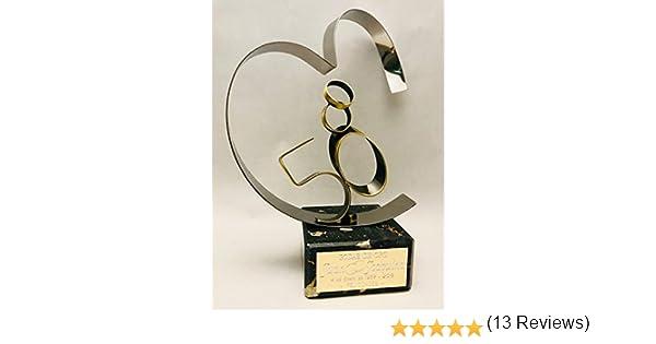 Regalo para bodas de oro GRABADO figura corazón 50 aniversario regalos PERSONALIZADOS: Amazon.es: Hogar