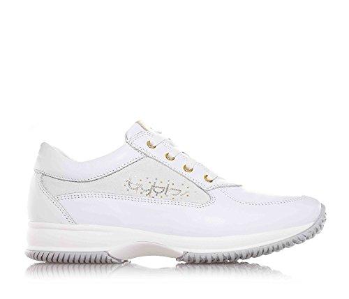 BYBLOS - Chaussure à lacets blanche en cuir, avec pièce en cuir doré avec logo sur la languette, logo latéral réalisé en strass, coutures visibles, Fille, Filles, Femme, Femmes