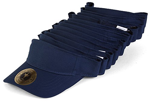 TOP HEADWEAR Blank Adjustable Visors - 12-Pack - Navy (Navy Adjustable Visor)