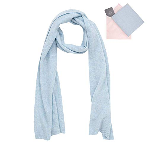 Cashmere Scarf for Women - 100% Pure Luxury Knit - Lightweight, Ultra Soft, Warm - Beautiful Silk Keepsake Gift Bag (Pale Blue)