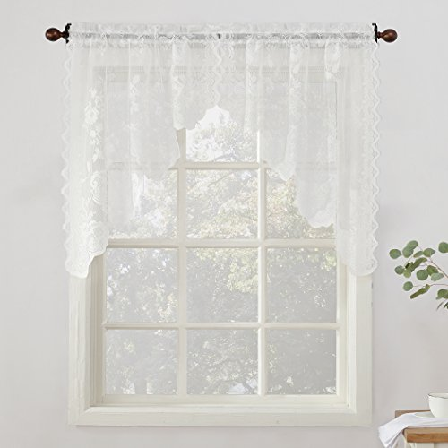 Swags Treatments Window (No. 918 Alison Floral Lace Sheer Kitchen Curtain Swag Pair, 58