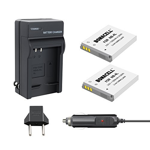 Bonacell 2 Pack Replacement NB-4L 1200mAh Battery and Charger Kit for Canon PowerShot ELPH 100/300/310 HS, SD1000/1100 IS/1400 is, SD200, SD30/300, SD40/400/430/450, SD600/630, SD940 IS/960 is, TX1 -