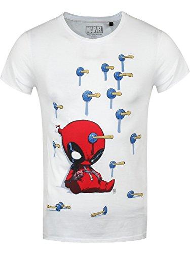 Marvel Herren T-Shirt Deadpool Baby Pfeile weiß. Offiziell lizenziert