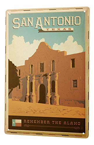 (Tin Sign Deco City San Antonio Texas Alamo)
