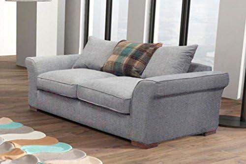 Hugo - Juego de sofá de lujo, tela, Plateado, 2 Seater Only ...