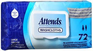 Pak Attends Washcloth - Attends Large Cleansing Washcloths Pop-Up Pak - 12 pks of 72, Pack of 6