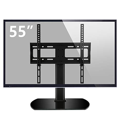 (Rfiver Universal Swivel Tabletop TV Stand with Mount for 27 32 37 40 42 43 47 50 55 inch LED,LCD and Plasma Flat Screen TVs with Height Adjustment VESA 400x400mm, UT2002)