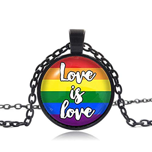 Love is Love Gay Pride Necklace, Glass Dome Pendant, LGBT Gift, Charm Jewelry ()