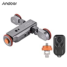Andoer 3 Speed Adjustable with Rechargeable Battery Electric Motorized 3-Wheel Pulley Car Slider Rolling Skater for Canon Nikon Sony DSLR Camera iPhone 7 7 plus 6 plus Samsung Huawei Smartphone