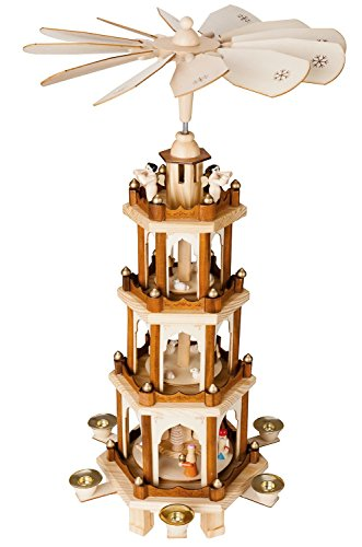 BRUBAKER Christmas Pyramid - 24 Inches - 4 Tier Carousel with 6 Candle Holder and Hand Painted Figurines - Designed in GERMANY - Nativity Set, Decoration by BRUBAKER
